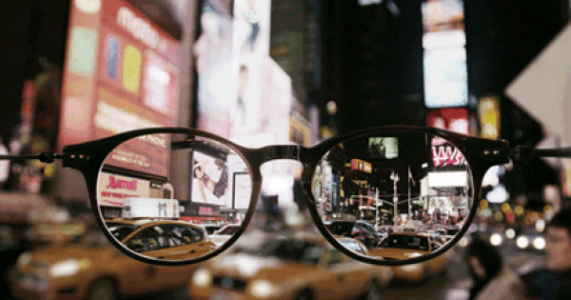 city through glasses