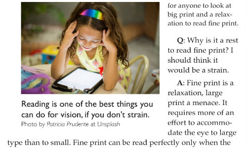 Q&A on Reading – From Bates's Better Eyesight Magazines